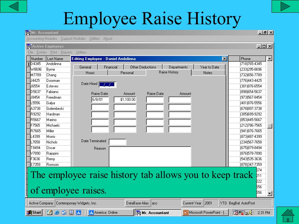 Employee Personal The employee personal tab allows you to store personal information on each employee.