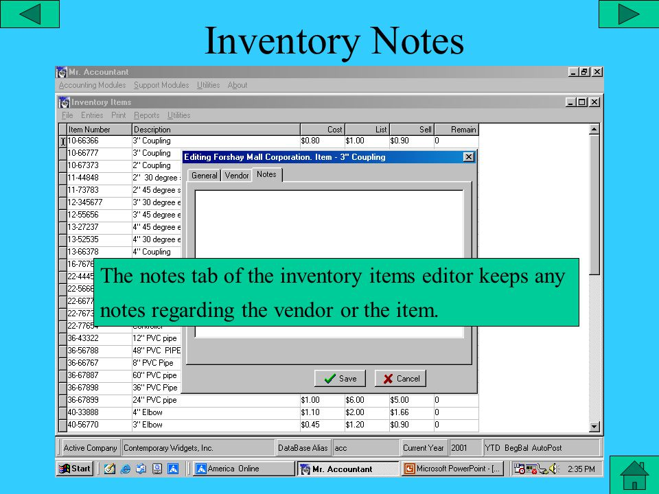 Inventory General The general tab of the inventory items editor contains all the basic information on the item such as item #, department description, make, model, plant, list, sell, taxable, SKU, etc,