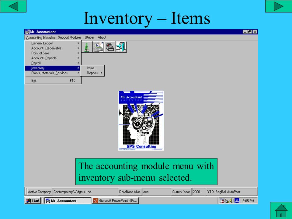 Payroll – Tax Reports The accounting module menu with payroll sub-menu selected and tax reports open.