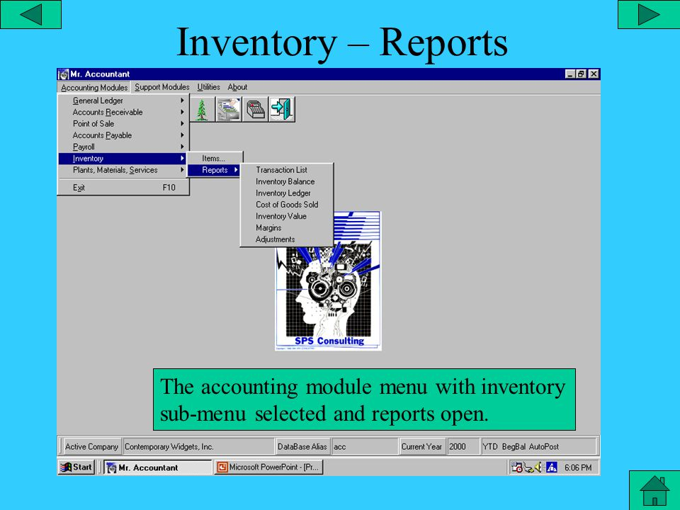 Inventory – Items The accounting module menu with inventory sub-menu selected.