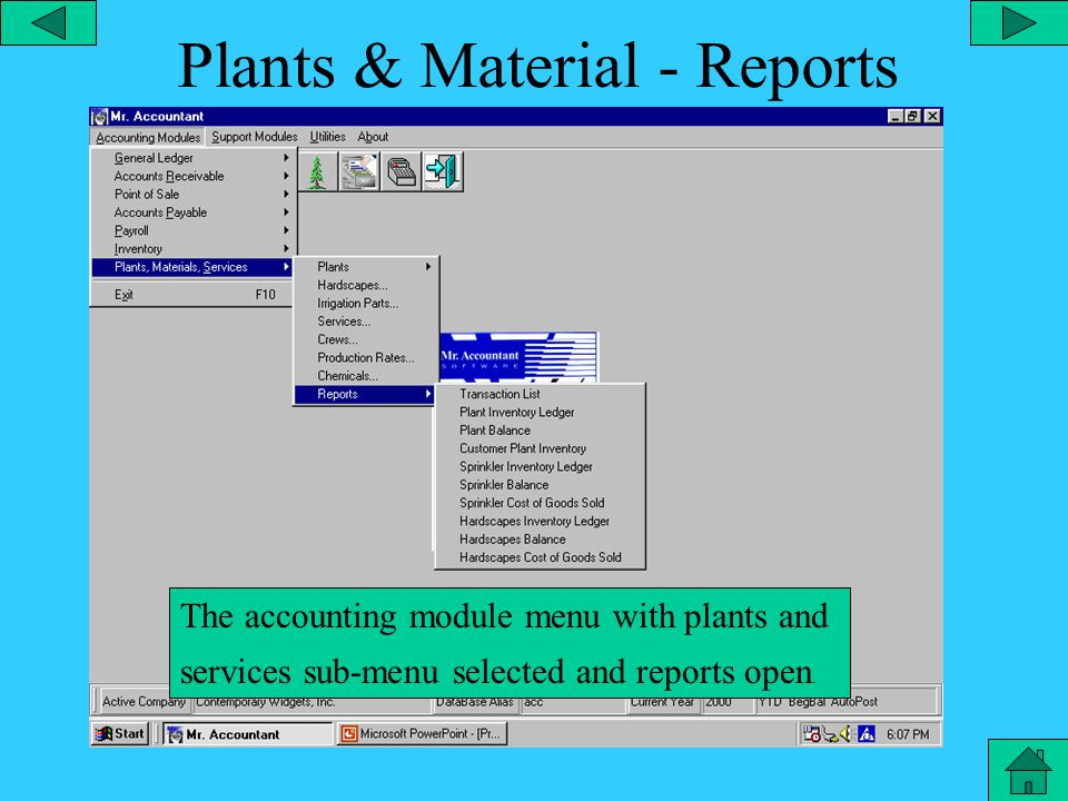 Plants, Materials & Services The accounting module menu with plants and services sub-menu selected..