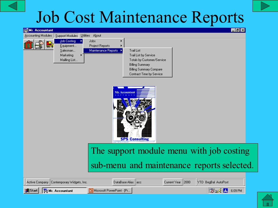 Job Costing Project Reports The support module menu with job costing sub-menu and project reports selected.