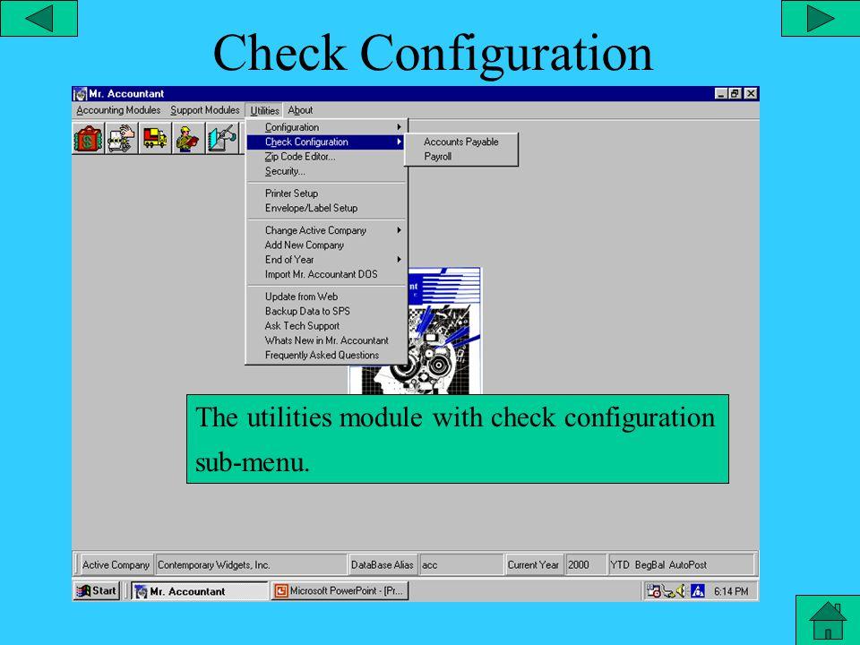Configuration - Landscape The utilities module with configuration sub-menu and landscape selected.