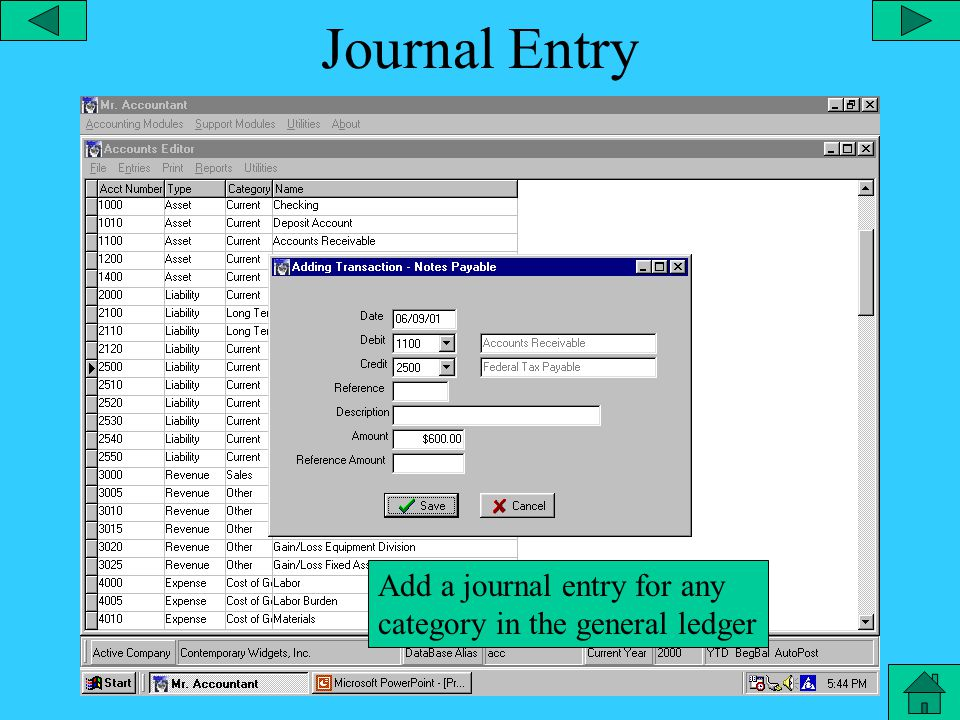 Compound Journal Entry Create a compound journal entry with unlimited sub-parts
