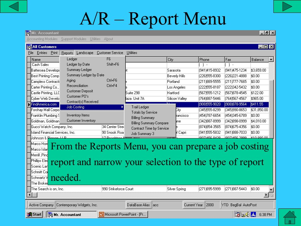 A/R – Landscape Print Menu From the landscape print menu, you can narrow your selection on printing the customer list.