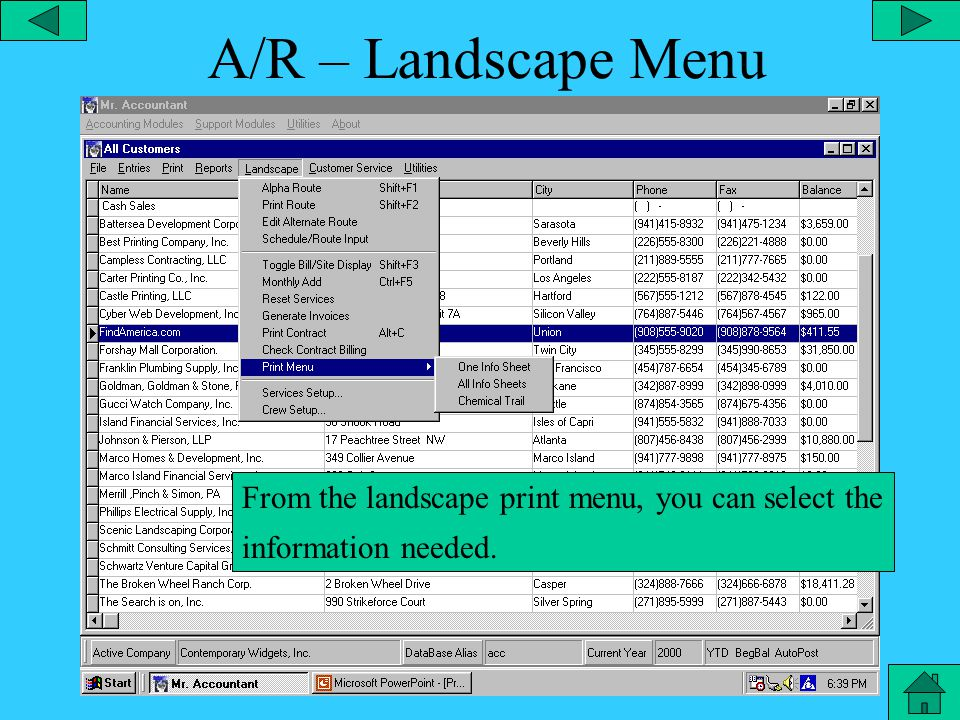 A/R – Report Menu From the Reports Menu, you can prepare a job costing report and narrow your selection to the type of report needed.