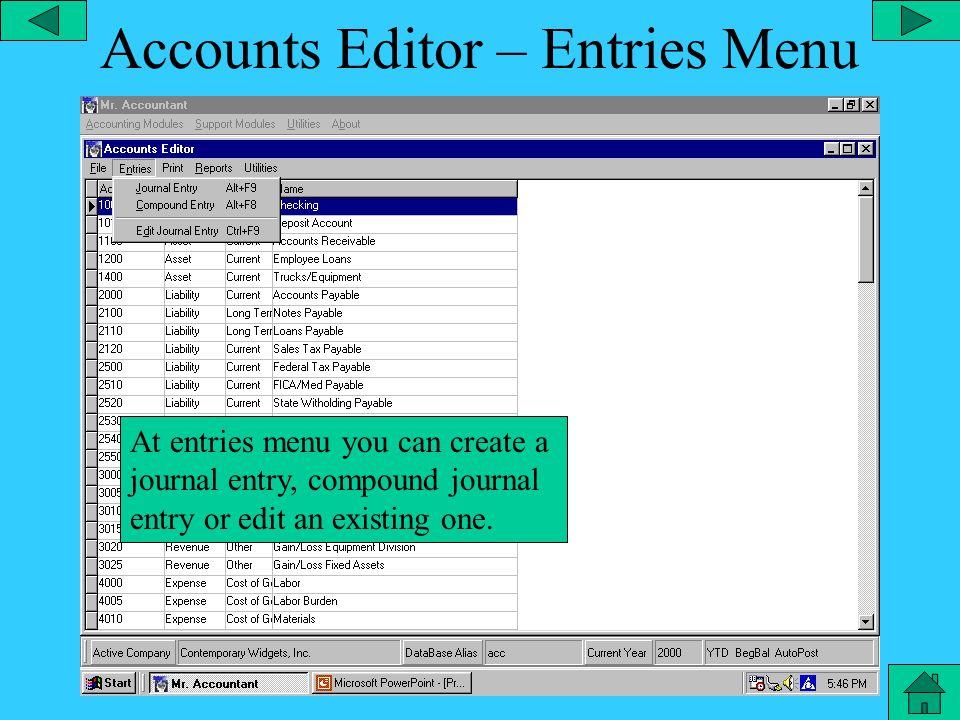 Accounts Editor – File Menu The file menu allows search, add, edit or delete any category.