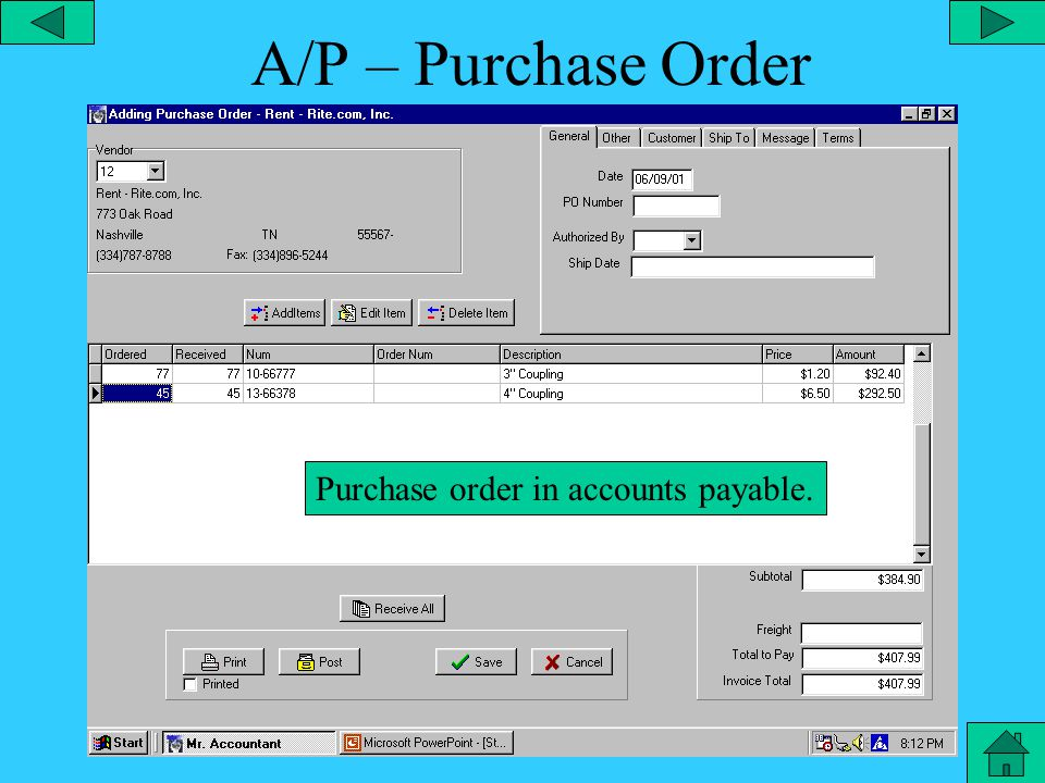 A/P Adding Purchase Order Item Adding a purchase order item.