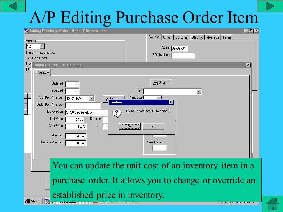 A/P – Purchase Order Purchase order in accounts payable.