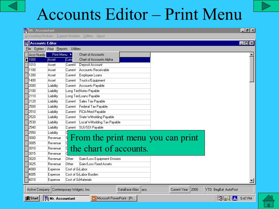 Accounts Editor – Entries Menu At entries menu you can create a journal entry, compound journal entry or edit an existing one.