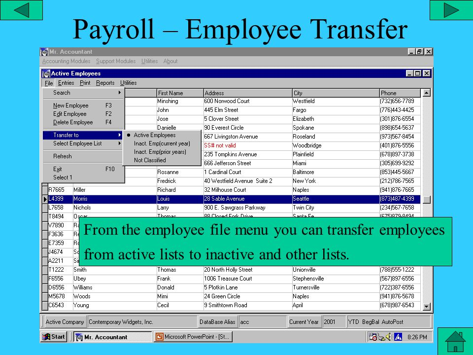 Payroll – Search Menu From the file menu, you can add a new employee, edit the employee, search for a particular employee, etc.