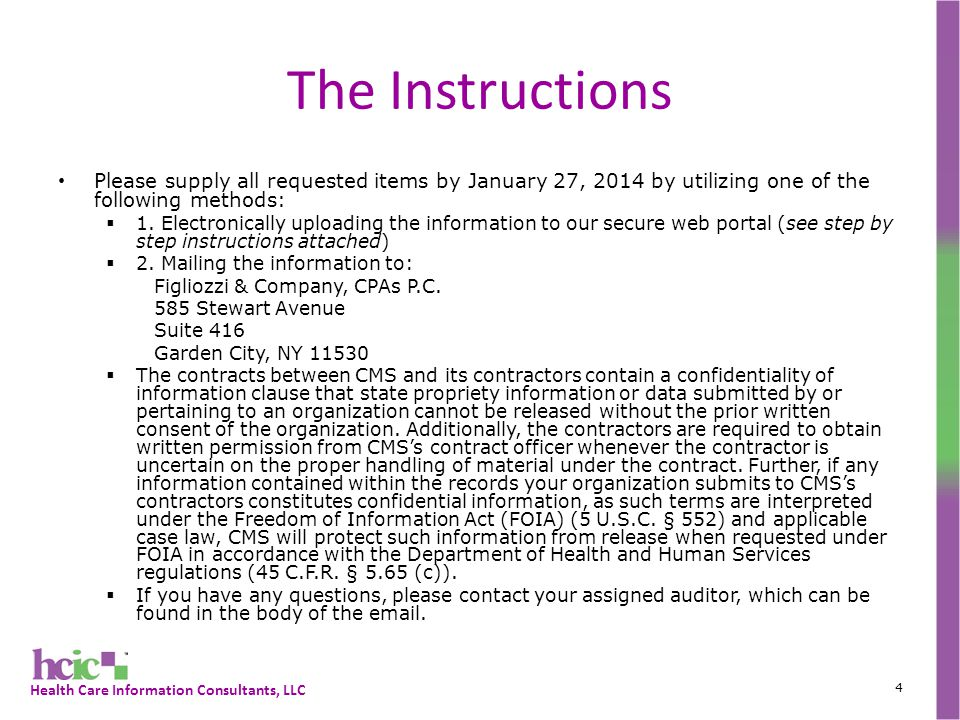 Health Care Information Consultants, LLC The Data Request 5