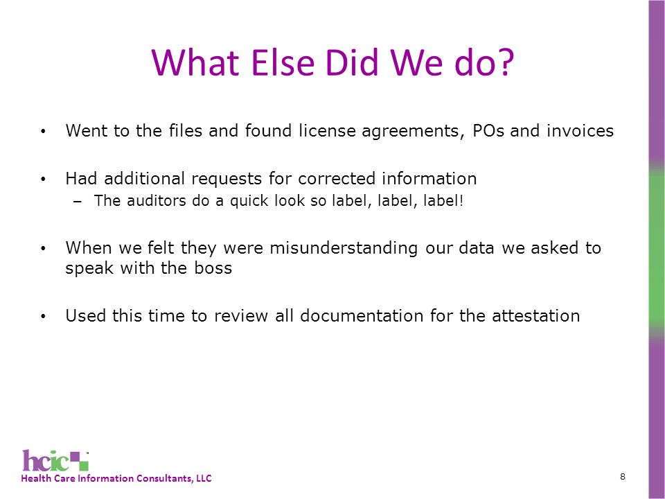 Health Care Information Consultants, LLC What Else Did We do.