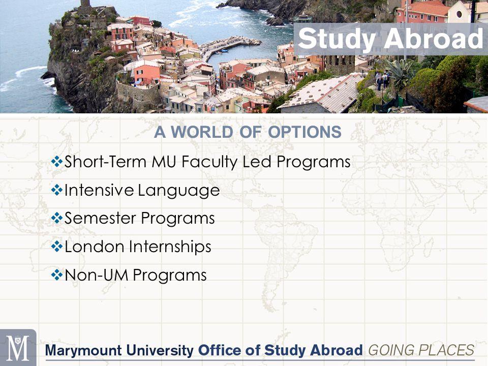 A WORLD OF OPTIONS  Short-Term MU Faculty Led Programs  Intensive Language  Semester Programs  London Internships  Non-UM Programs