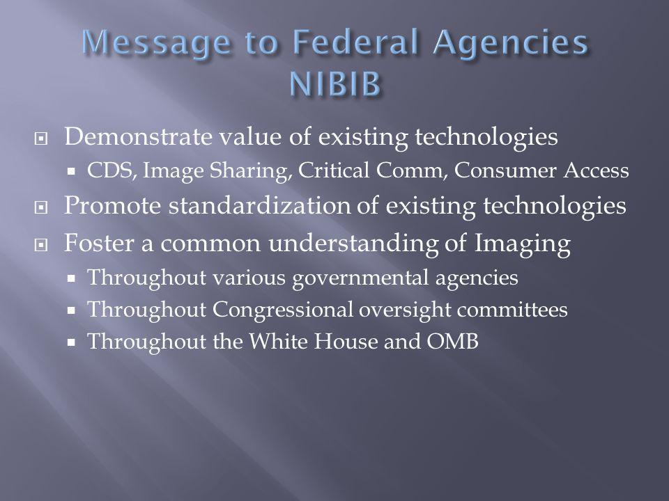 Demonstrate value of existing technologies  CDS, Image Sharing, Critical Comm, Consumer Access  Promote standardization of existing technologies  Foster a common understanding of Imaging  Throughout various governmental agencies  Throughout Congressional oversight committees  Throughout the White House and OMB