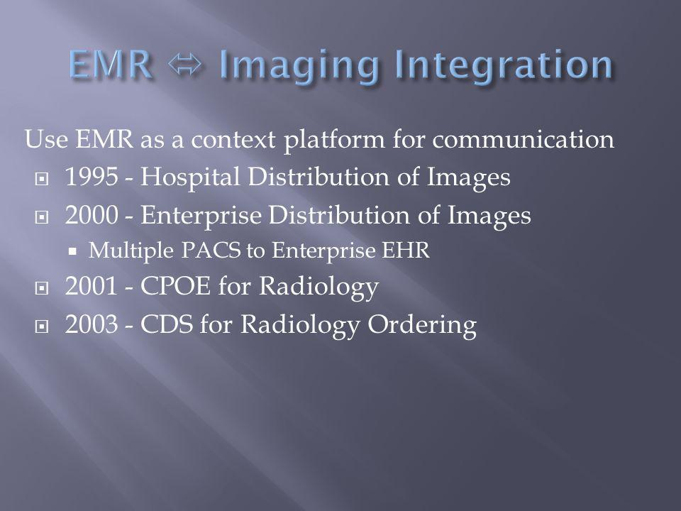 Use EMR as a context platform for communication  1995 - Hospital Distribution of Images  2000 - Enterprise Distribution of Images  Multiple PACS to Enterprise EHR  2001 - CPOE for Radiology  2003 - CDS for Radiology Ordering