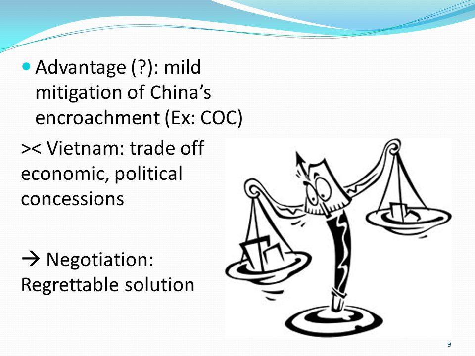 Advantage ( ): mild mitigation of China's encroachment (Ex: COC) >< Vietnam: trade off economic, political concessions  Negotiation: Regrettable solution 9