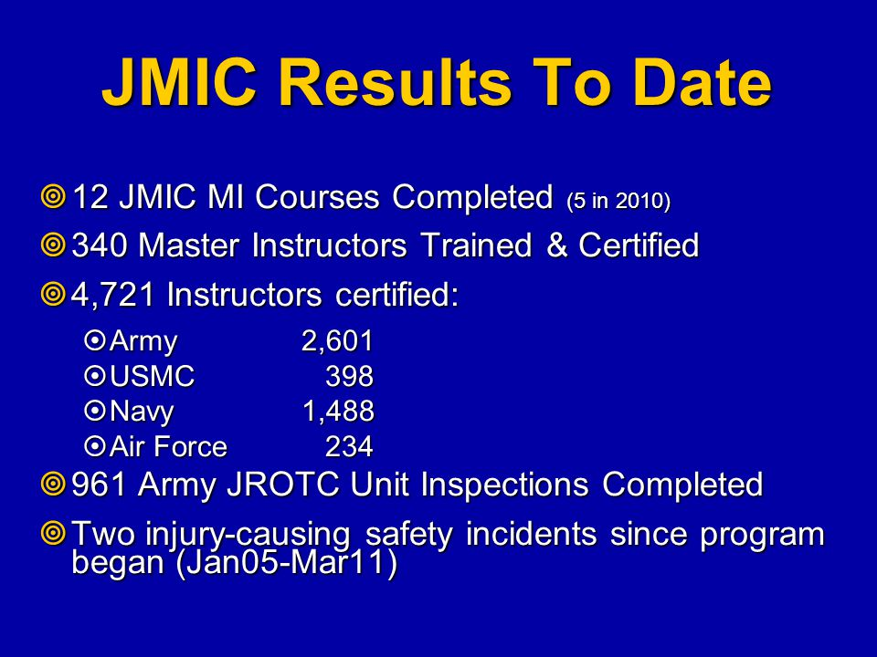 JMIC Results To Date  12 JMIC MI Courses Completed (5 in 2010)  340 Master Instructors Trained & Certified  4,721 Instructors certified:  Army 2,6