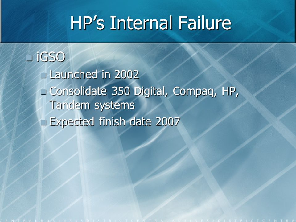 HP's Internal Failure iGSO iGSO Launched in 2002 Launched in 2002 Consolidate 350 Digital, Compaq, HP, Tandem systems Consolidate 350 Digital, Compaq, HP, Tandem systems Expected finish date 2007 Expected finish date 2007