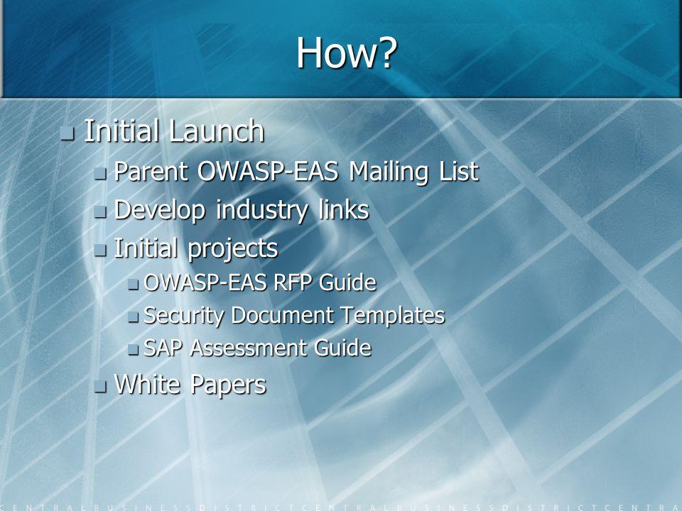 How? Initial Launch Initial Launch Parent OWASP-EAS Mailing List Parent OWASP-EAS Mailing List Develop industry links Develop industry links Initial p
