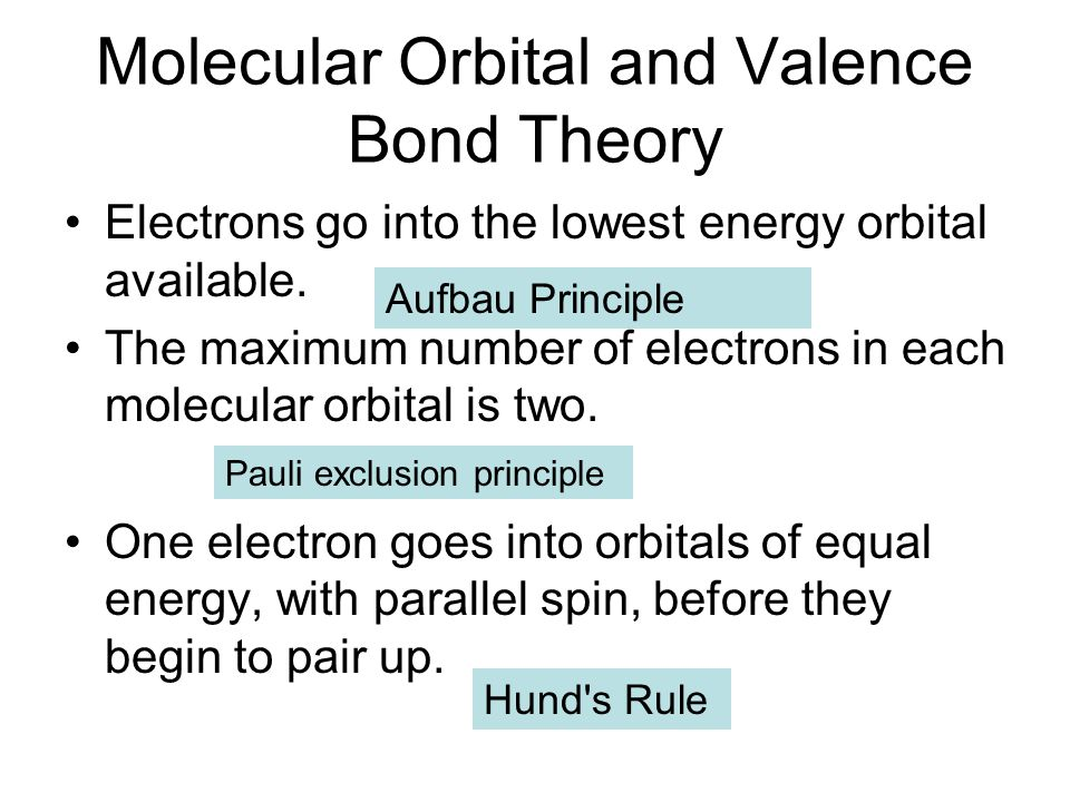 Molecular Orbital and Valence Bond Theory Electrons go into the lowest energy orbital available. The maximum number of electrons in each molecular orb
