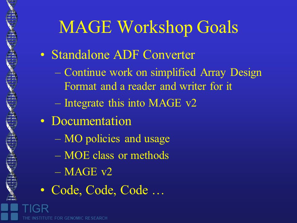 THE INSTITUTE FOR GENOMIC RESEARCH TIGR MAGE Workshop Goals Standalone ADF Converter –Continue work on simplified Array Design Format and a reader and writer for it –Integrate this into MAGE v2 Documentation –MO policies and usage –MOE class or methods –MAGE v2 Code, Code, Code …