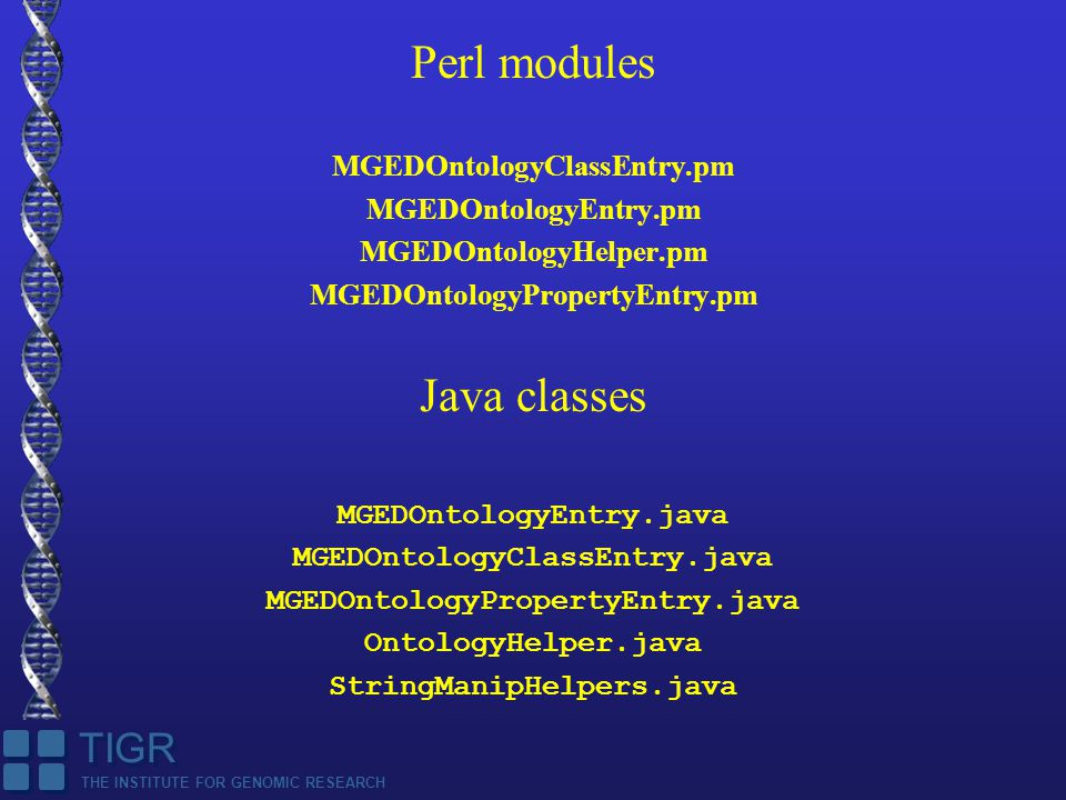THE INSTITUTE FOR GENOMIC RESEARCH TIGR Perl modules MGEDOntologyClassEntry.pm MGEDOntologyEntry.pm MGEDOntologyHelper.pm MGEDOntologyPropertyEntry.pm Java classes MGEDOntologyEntry.java MGEDOntologyClassEntry.java MGEDOntologyPropertyEntry.java OntologyHelper.java StringManipHelpers.java