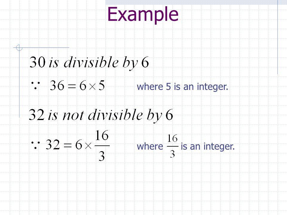 Example where 5 is an integer. where is an integer.