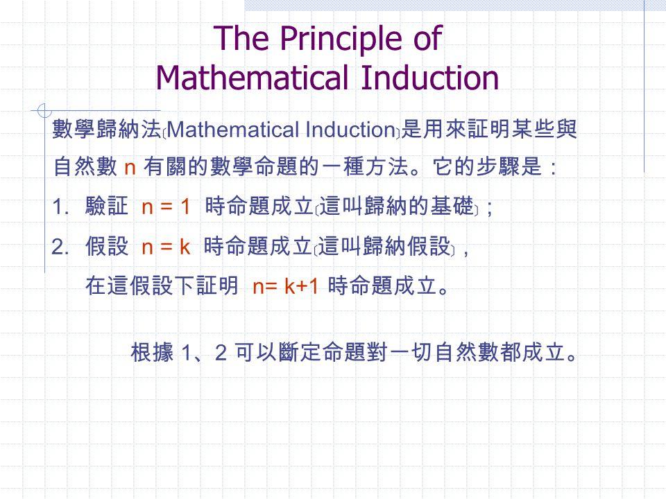 The Principle of Mathematical Induction 數學歸納法﹝ Mathematical Induction ﹞是用來証明某些與 自然數 n 有關的數學命題的一種方法。它的步驟是: 1.