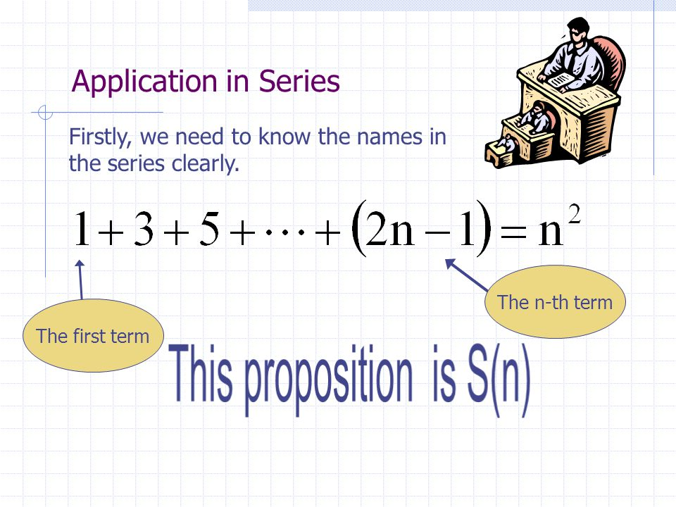 Application in Series Firstly, we need to know the names in the series clearly. The first term The n-th term