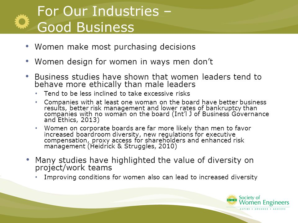 For Our Industries – Good Business Women make most purchasing decisions Women design for women in ways men don't Business studies have shown that women leaders tend to behave more ethically than male leaders Tend to be less inclined to take excessive risks Companies with at least one woman on the board have better business results, better risk management and lower rates of bankruptcy than companies with no woman on the board (Int'l J of Business Governance and Ethics, 2013) Women on corporate boards are far more likely than men to favor increased boardroom diversity, new regulations for executive compensation, proxy access for shareholders and enhanced risk management (Heidrick & Struggles, 2010) Many studies have highlighted the value of diversity on project/work teams Improving conditions for women also can lead to increased diversity