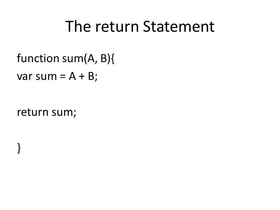 The return Statement function sum(A, B){ var sum = A + B; return sum; }