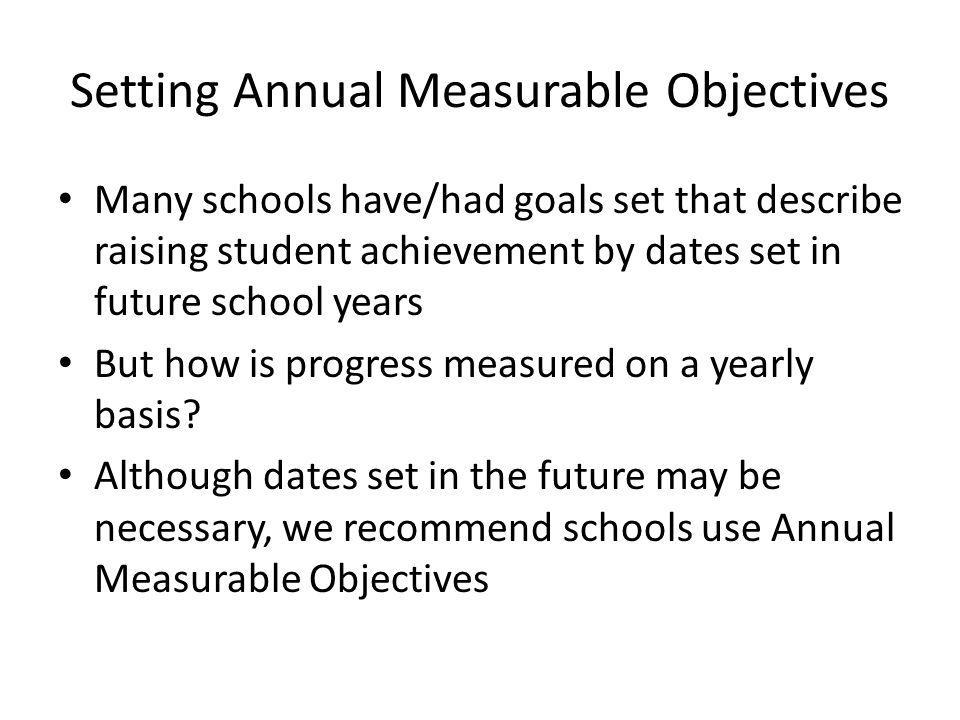 Annual Measurable Objectives Facilitate Several Activities They provide: schools with yearly objectives that, if met, will result in students raising achievement over the longer period of time the school the starting point for looking at subgroups, grade level/content area performance, classroom data, and student level data