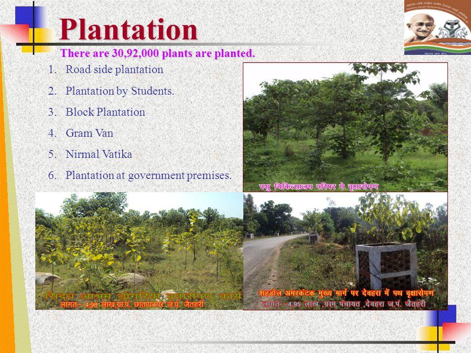 Plantation 1.Road side plantation 2.Plantation by Students. 3.Block Plantation 4.Gram Van 5.Nirmal Vatika 6.Plantation at government premises. There a