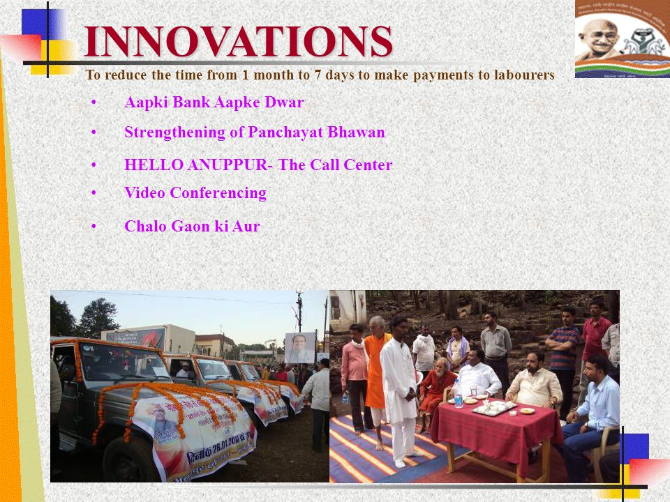 Aapki Bank Aapke Dwar HELLO ANUPPUR- The Call Center Video Conferencing Chalo Gaon ki Aur INNOVATIONS Strengthening of Panchayat Bhawan To reduce the