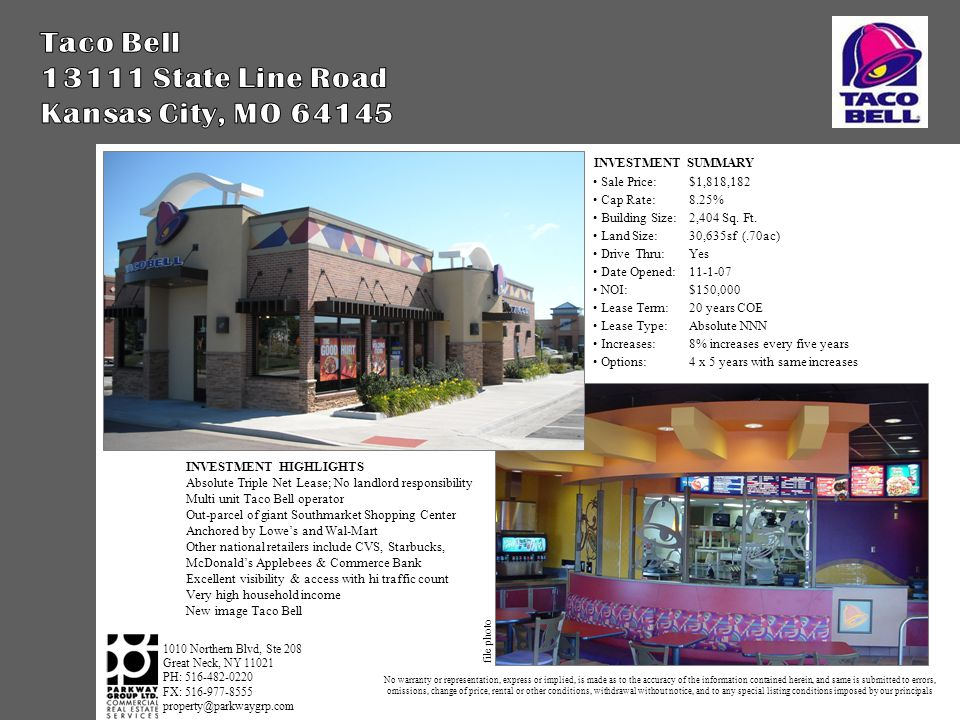 INVESTMENT SUMMARY Sale Price:$1,818,182 Cap Rate:8.25% Building Size:2,404 Sq.