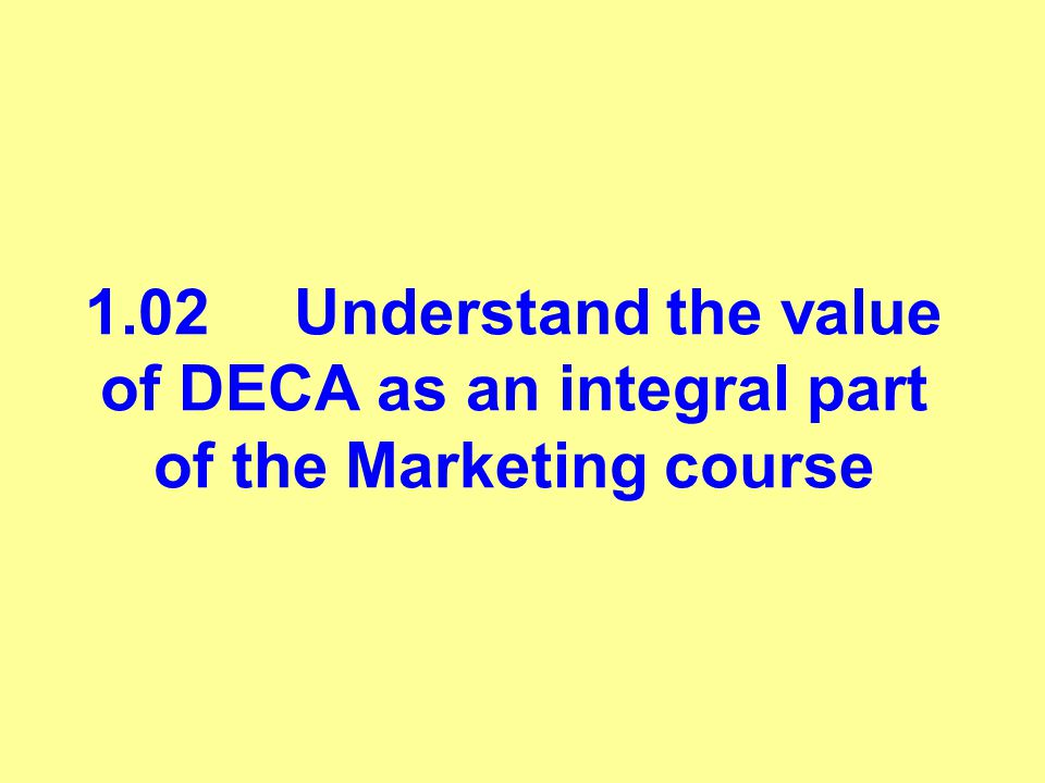 1.02Understand the value of DECA as an integral part of the Marketing course