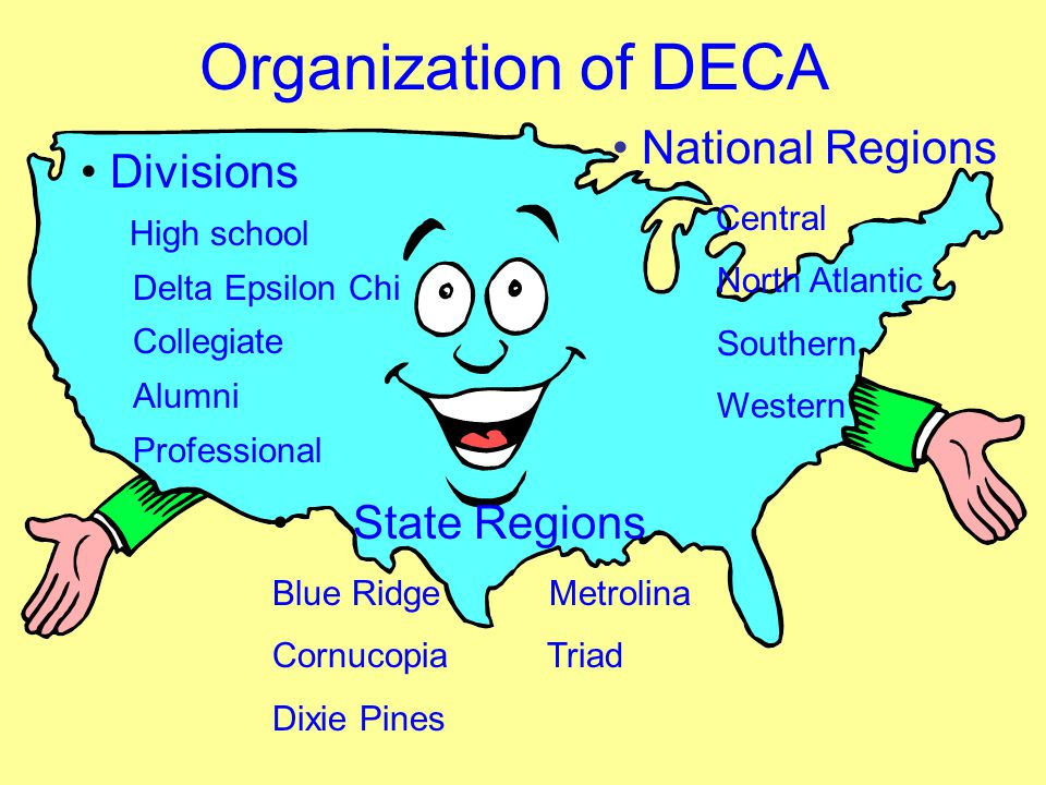 Organization of DECA National Regions Central North Atlantic Southern Western Divisions High school Delta Epsilon Chi Collegiate Alumni Professional S