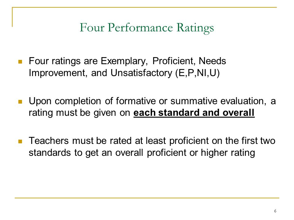7 Performance Rubrics DESE says districts must use rubrics that describe characteristics of practice at the four levels of performance (E,P,NI,U) for each standard/indicator/sub-indicator DESE has released two draft model rubrics for use in Level 4 schools: one for classroom teachers and one for principals Sample rubrics for other educators (guidance counselors, caseload educators, etc.) coming later Districts may develop their own rubrics, too