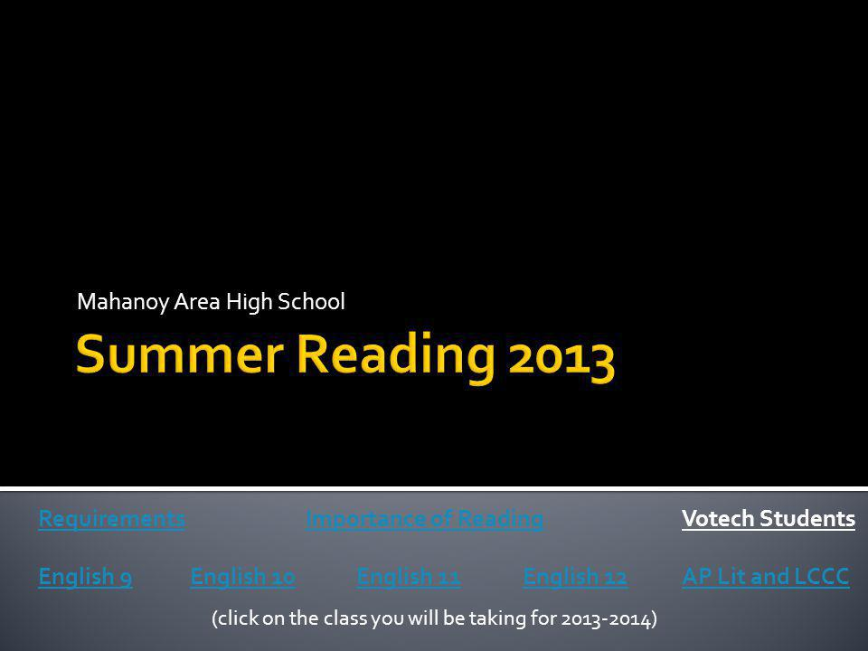 Mahanoy Area High School Requirements English 9English 10English 11English 12AP Lit and LCCC (click on the class you will be taking for 2013-2014) Imp