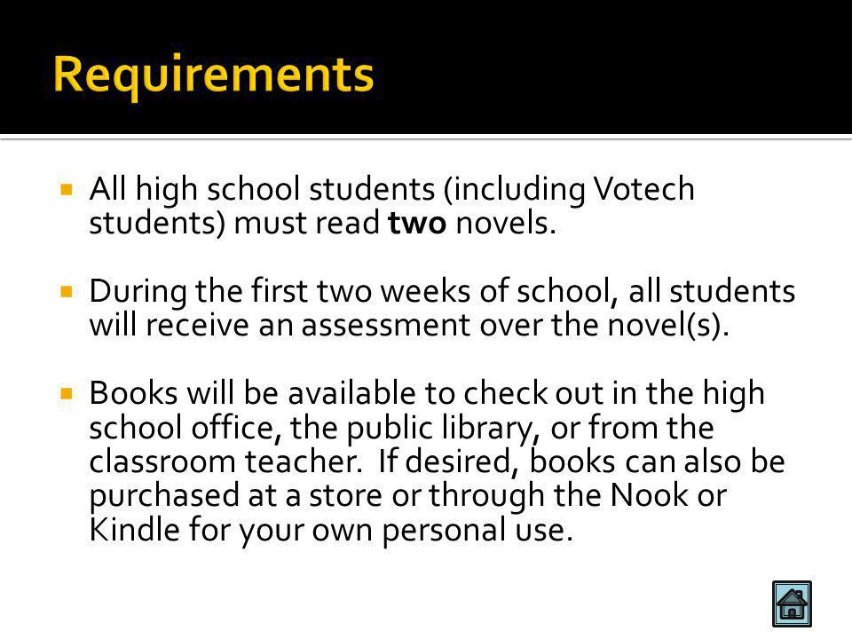  All high school students (including Votech students) must read two novels.