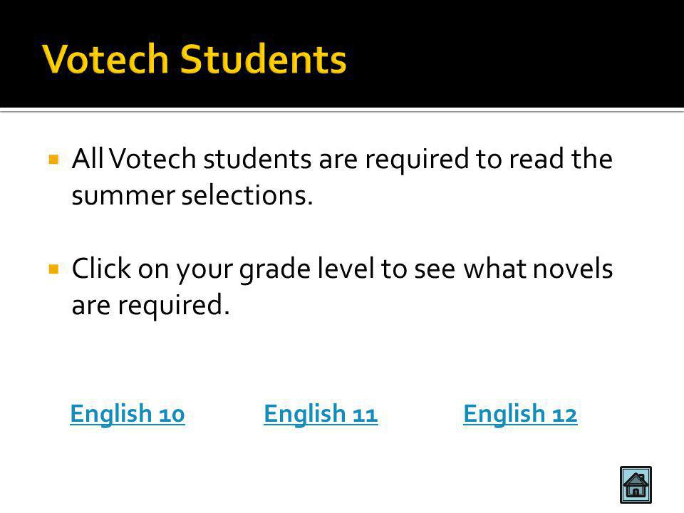  All Votech students are required to read the summer selections.  Click on your grade level to see what novels are required. English 10English 11Eng