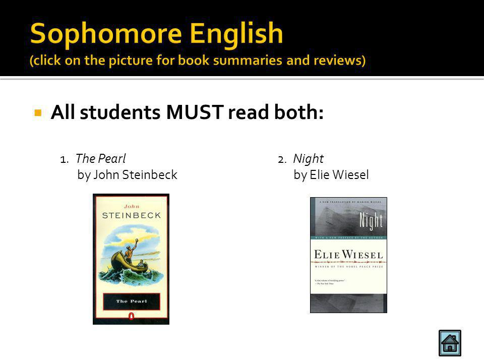  All students MUST read both: 1. The Pearl 2. Night by John Steinbeck by Elie Wiesel