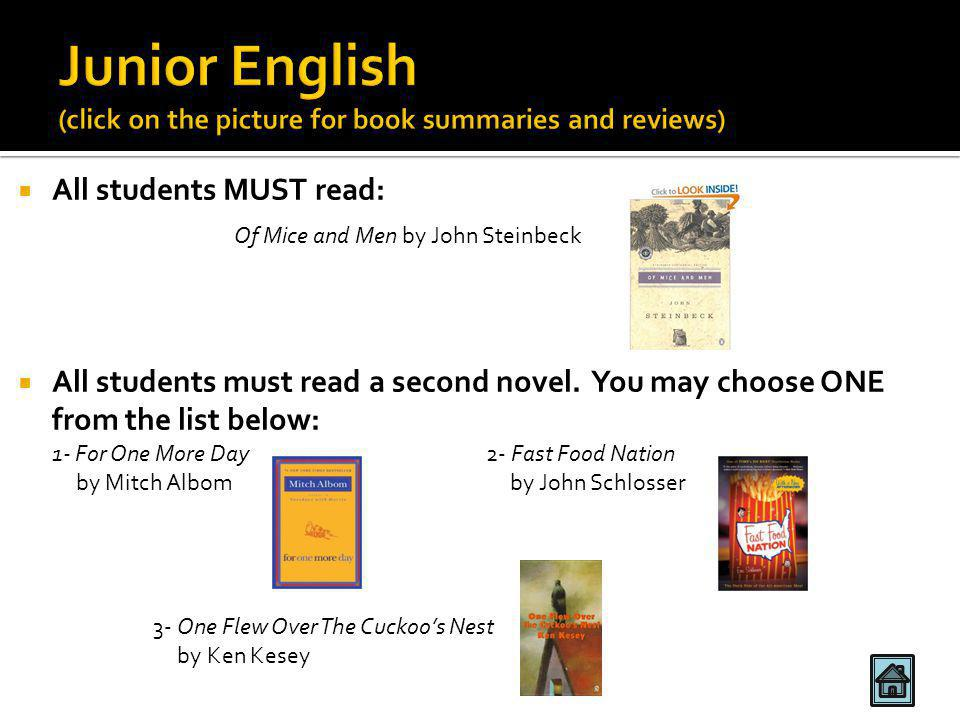  All students MUST read:  All students must read a second novel.
