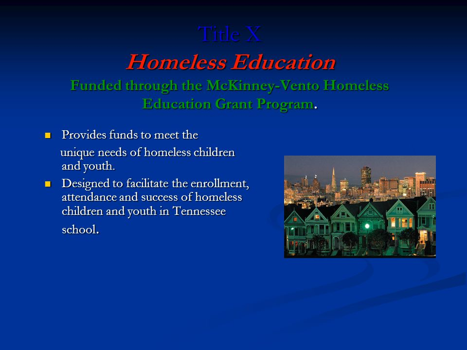 Title X Homeless Education Funded through the McKinney-Vento Homeless Education Grant Program. Provides funds to meet the Provides funds to meet the u