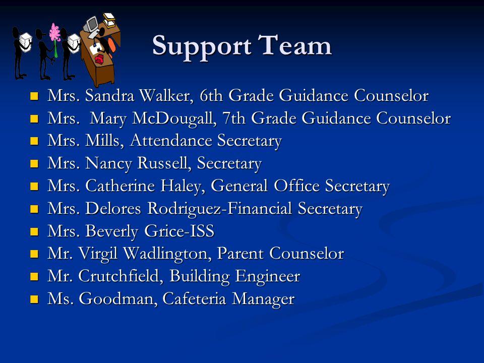 Support Team Mrs. Sandra Walker, 6th Grade Guidance Counselor Mrs.