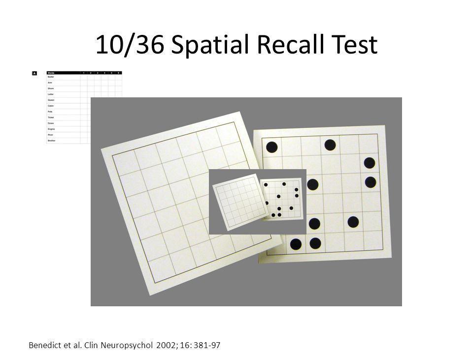10/36 Spatial Recall Test Benedict et al. Clin Neuropsychol 2002; 16: 381-97