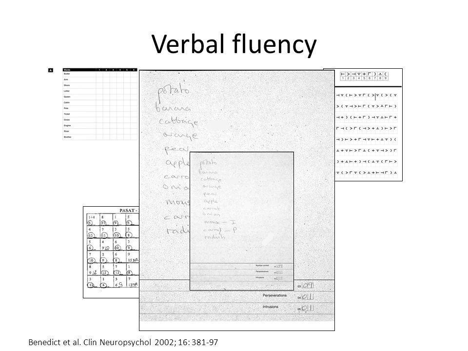 Verbal fluency Benedict et al. Clin Neuropsychol 2002; 16: 381-97