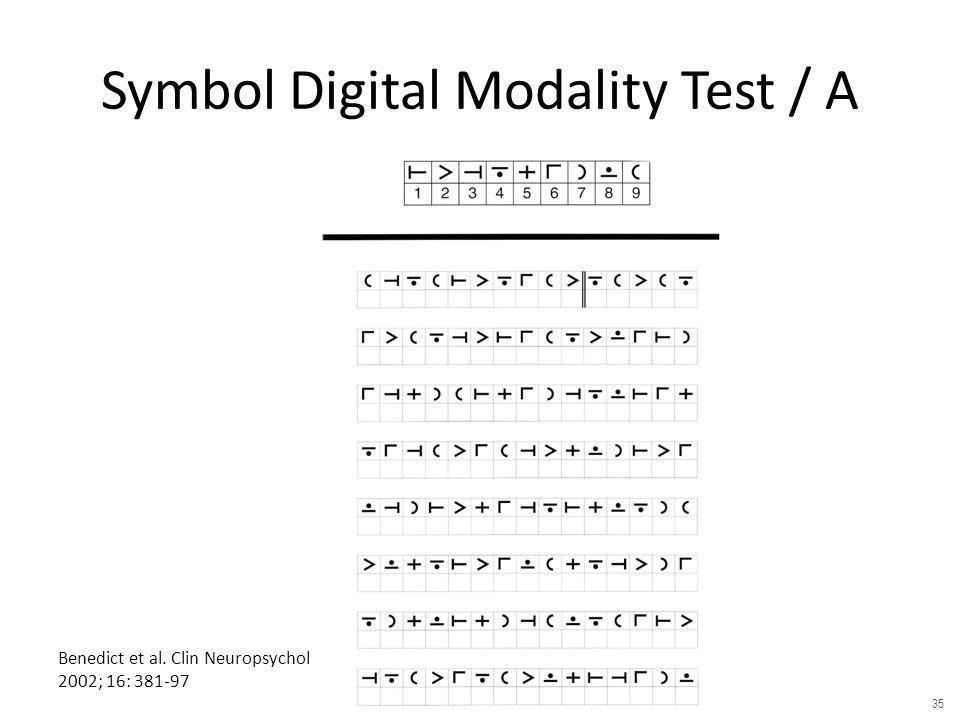 Benedict et al. Clin Neuropsychol 2002; 16: 381-97 Symbol Digital Modality Test / A 35