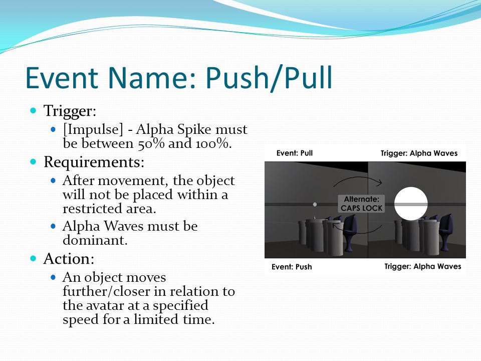 Event Name: Push/Pull Trigger: [Impulse] - Alpha Spike must be between 50% and 100%.